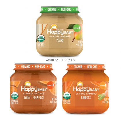Happy Baby Clearly Crafted Jars Stage 1, 113G for 6 months and above