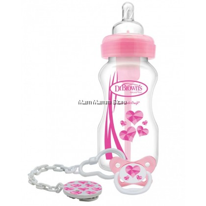 Dr Brown's Options Wide Neck PP Bottle 9oz/270ml + Soother Gift Set